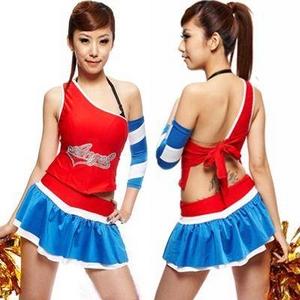 コスプレ *赤×ブルーのミニスカチアガール*レースクイーン - 拡大画像