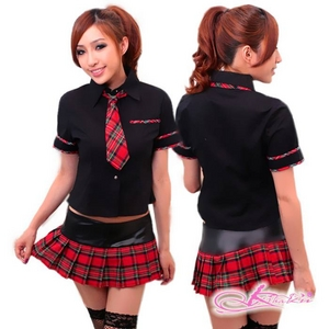 コスプレ 学生服*黒トップスの女子制服コスプレ
