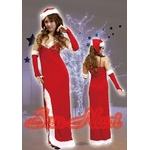 【クリスマスコスプレ】【サンタクロース 衣装】 クリスマスサンタ・ロングドレスセット L203