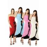 コスプレ ロングドレス・コサージュ付き・色ベース ブルー