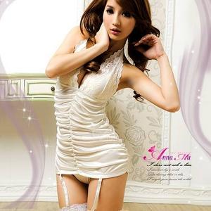 コスプレ ランジェリー 2011新作 胸元刺繍ホワイトランジェリー4点セット - 拡大画像