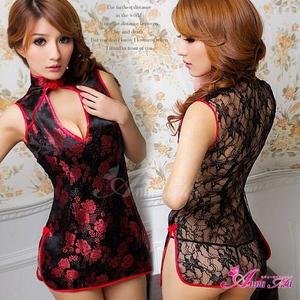 コスプレ 2011新作 黒×赤刺繍セクシーチャイナドレス - 拡大画像