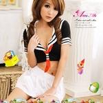 コスプレ 2011新作 胸元セクシーミニスカセーラー服3点セット