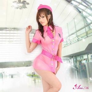 コスプレ 2011新作 ピンクのセクシーミニスカCA・スチュワーデス5点セット - 拡大画像