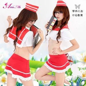 コスプレ 2011新作 セクシーミニスカセーラー服4点セット・レッド - 拡大画像
