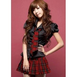 コスプレ 2011新作 黒ブラウス×チェックミニスカ制服セット - 拡大画像