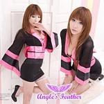 コスプレ 2011新作 シースルー着物 黒×ピンク