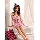 ランジェリー 黒リボン&胸元レースフリルピンクのベビードール&Tバック♪ランジェリー 写真1