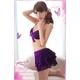 ランジェリー キラキラ紫のブラ&Tバック&スカート・ランジェリー 写真3
