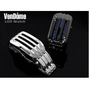 LED搭載 ソリッドサーキットクォーツ式腕時計 ステンレス/スワロフスキー シルバー