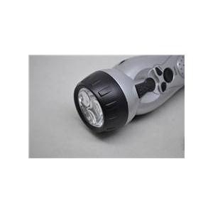 ダイナモ ラジオ付き LEDライト懐中電灯 【手回し発電機能付き】