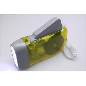 コンパクトで持ち運びに便利 グリップダイナモライト(懐中電灯) イエロー