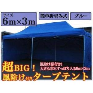 組み立て式タープテント サイドウォール付き ブルー 【アウトドア】 - 拡大画像