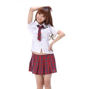 コスプレ ネクタイリボンのスクール 学生服【赤チェック】 - 拡大画像