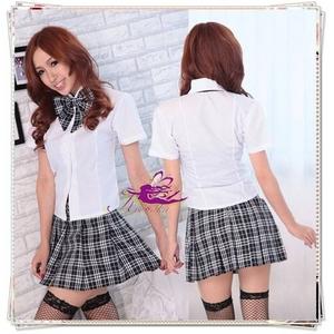 コスプレ 蝶リボンのスクール 学生服【黒×白】 - 拡大画像