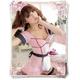 コスプレ エプロン付バック編み上げピンクのメイド服 (4点入り) - 縮小画像1