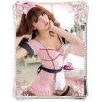 コスプレ エプロン付バック編み上げピンクのメイド服 (4点入り)