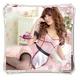 コスプレ エプロン付バック編み上げピンクのメイド服 (4点入り) - 縮小画像3
