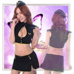 コスプレ キャップ付ミニスカートのセクシー系の婦人警官さん 黒 - 拡大画像