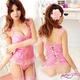 モテカワ!!!ストッキング&ガーターベルト付ピンクのベビードール&Tバック・ランジェリー  写真1