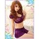 コスプレ ランジェリー 花柄仕上げ紫のベビードール&Tショーツ・スカートセット(3点入り) 写真2