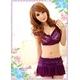 コスプレ ランジェリー 花柄仕上げ紫のベビードール&Tショーツ・スカートセット(3点入り) 写真3