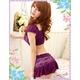 コスプレ ランジェリー 花柄仕上げ紫のベビードール&Tショーツ・スカートセット(3点入り) 写真4