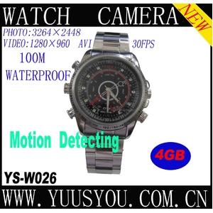 腕時計型ビデオカメラ HD Pixel[1280×960] 4Gメモリ内蔵 800万画素 100M防水 - 拡大画像