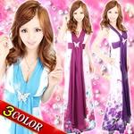 華の妖精★花柄シフォンタイ付きロングドレス ブルー