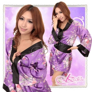 帯付花柄仕上げ紫の浴衣・着物コスプレ【2点入り】 - 拡大画像