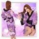 帯付花柄仕上げ紫の浴衣・着物コスプレ【2点入り】 - 縮小画像2