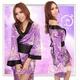 帯付花柄仕上げ紫の浴衣・着物コスプレ【2点入り】 - 縮小画像3