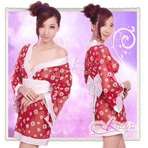 花柄仕上げ透け透け赤の浴衣・着物コスプレ【3点入り】 - 拡大画像