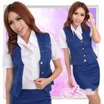 コスプレ 青/新人気分ベスト付女子教師コスプレ・OL制服 5359
