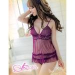 胸元セクシーなベビードール&ショーツ・シースルーランジェリー/紫(パープル)