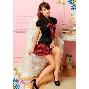コスプレ 黒×赤チェック ミニスカ女子制服コスプレ/コスチューム z690
