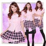ピンクブラウスの学生服コスプレ(3点)女子制服