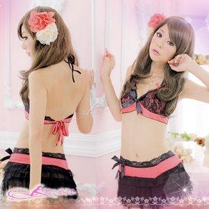 【ピンク×黒】ランジェリー5点セット3420(黒ストッキング・ガーターベルト・ブラ・スカート・Tバック)  - 拡大画像