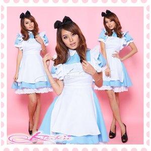 パニエ付ロングアキバ系メイド服ドレス・コスプレ【水色×白】 - 拡大画像