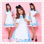 パニエ付ロングアキバ系メイド服ドレス・コスプレ【水色×白】