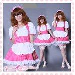 水玉柄のアキバ系メイド服・コスプレ(2点)【白×チェリーーピンク】