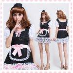3層白いレース裾のアキバ系メイド服・コスプレ(3点)【黒×ピンクリボン】