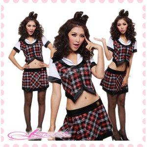 チェックのスクール服・学生服(2点入)【黒チェック】