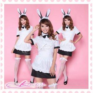 蝶リボン&エプロン付バニーガールコスプレ【黒×白】 - 拡大画像