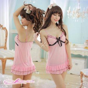 【黒×ピンク】裾フリルベビードール&ショーツ・ランジェリー2点セット/8227 - 拡大画像
