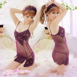 【深紫】裾花柄添えベビードール&ショーツ・ランジェリー/8218 - 拡大画像