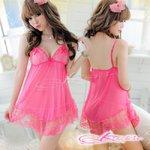 【チェリーピンク】裾花柄添えベビードール&ショーツ・ランジェリー/8216