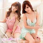【ピンクcolor】胸元コサージュ付ベビードール&ショーツ・ランジェリー/8308