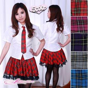 【レッド】チェックのスクールコスプレ・学生服/6102 - 拡大画像