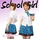 【ブルー色】チェックのスクールコスプレ・学生服/6102